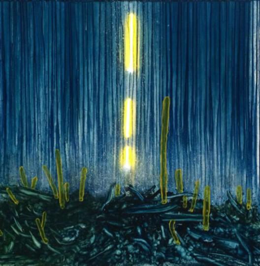 陈春木,《灵光乍现》,  综合绘画 ,木板、丙烯、油彩  LED灯 ,150x150cm