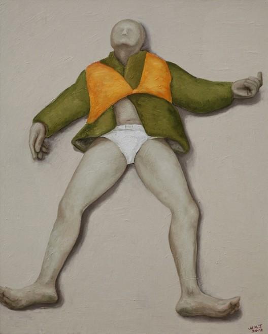 《躺着》,画布油画,150 × 120 cm,2012