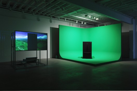 Mark Leckey GreenScreenRefrigeratorAction, 2010 Installation view: Gavin Brown's enterprise, 2010 Samsung refrigerator, rear screen projection rig, digital video, green screen set, PA, can of coolant Courtesy the artist and Gavin Brown's enterprise