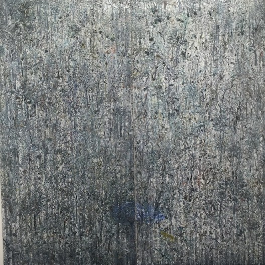"""Ouyang Chun """"The Tiger"""" (2014) at ShanghART. Also notable were a small monotype photograph, """"Inconsolable Memories No.14"""" (2015) by Jiang Pengyi and the thrumming """"OM-2"""" by Zhang Ding."""