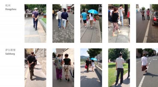 """Walk Like Chinese (video stills)"",workshop; 2-channel video, 6 min, 2013《师华步(录像截屏),工作坊,双屏录像,6分钟,2013"