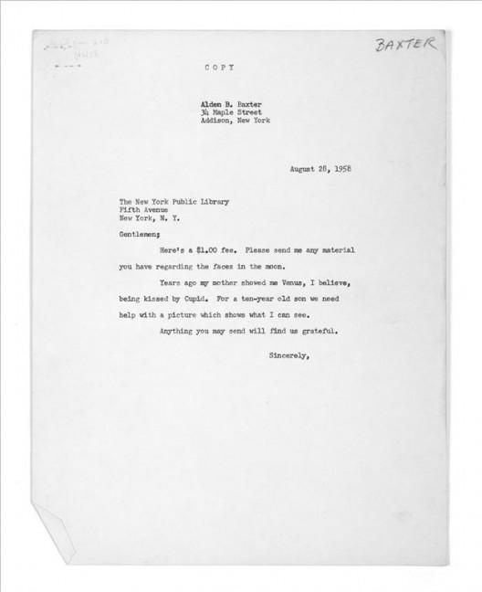 泰伦·西蒙,《1958年8月28日,图片收集网的用户奥尔登·B·巴克斯特向纽约公共图书馆索要的图片》