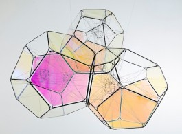 "Tomás Saraceno, ""55 Cnc d/M+M"", metal, iridescent panels , steel thread, polyester rope, fishing line, metal wire, 90 x 106 x 100 cm, 2015. (Courtesy: the artist and Esther Schipper, Berlin. Photo: © Studio Saraceno)"