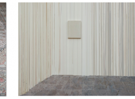 Chen Yufan and Chen Yujun, Borrowed Land 9.72 Square Meters, 2016. Handmade wool rug + lightbox. Chen Yujun, Temporary Home 14150522, 2014-2015. Acrylic on canvas. 220 x 450 cm陳彧凡、陳彧君, 借地,9.72平方米, 2016. 手工羊毛地毯 + 燈箱.	陳彧君, 臨時家庭No.14150522, 2014-2015. 布面丙烯. 220 x 450 cm