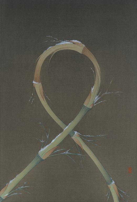 曾志钦,《受刑的竹》,绢本设色,56×38cm,2015