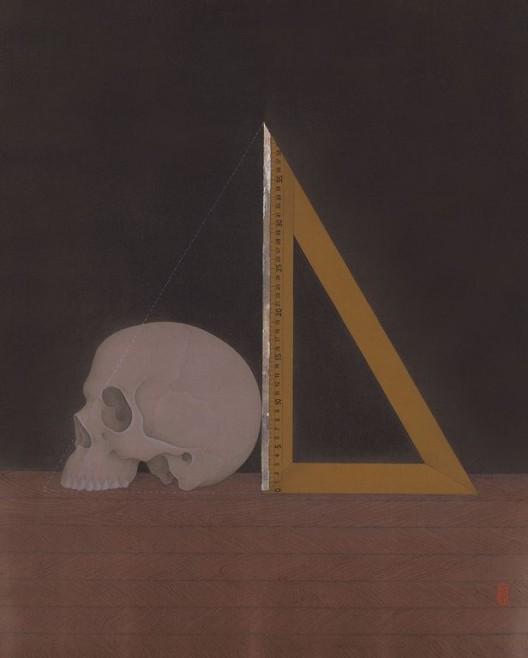 曾志钦,《测量行为》,绢本设色,50×40cm,2015