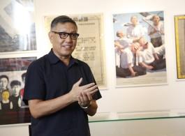 """关于展览的展览:90年代的当代艺术展示""""新闻发布会。左起:冷林、宋冬、巫鸿、吴文光"""