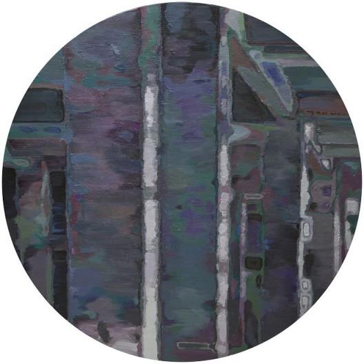 李易纹,《无序结构Ⅱ》,布面丙烯,直径150cm圆形,2015 / Li Yiwen, disordered structure Ⅱ, acrylic on canvas, 2015