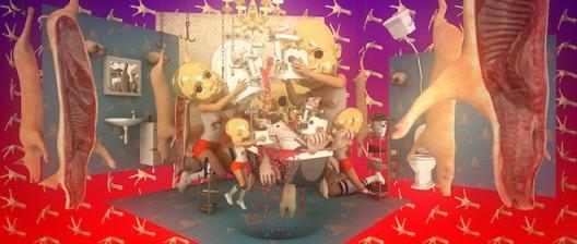 王业丰, 漂流舞台, 2016年, 三维动画录像装置Wang Yefeng, The Drifting Stages, 2016, 3D animation video installation 视频截图, 版权:王业丰 / Video screenshot, courtesy of the artist