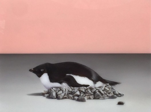 Sam Leach,'Penguin Nest', 2016,oil and resin on wood, 41 x 51 cm