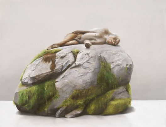 Sam Leach Monkey on Mossy Rock, 2016 oil and resin on wood 41 x 51 cm