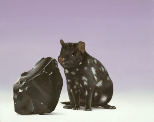 Sam Leach, 'Obsidian and Quoll', 2016 oil and resin on wood 41 x 51 cm