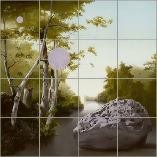 Sam Leach, 'Speculation About Impact of Meteor at Yellow Water', 2016 oil and resin on wood, 200 x 200 cm, 16 panels at 50 x 50 cm