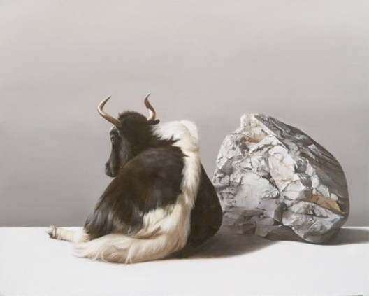 Sam Leach, 'Yak and Rock', 2016, oil and resin on wood, 41 x 51 cm