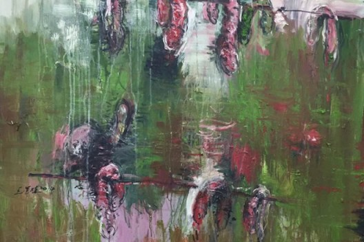 Wang Rongzhi, Dry Sausages, 2014, Fast drying oil colour on canvas, 160 x 140 cm, 63 x 55 1/8 in.