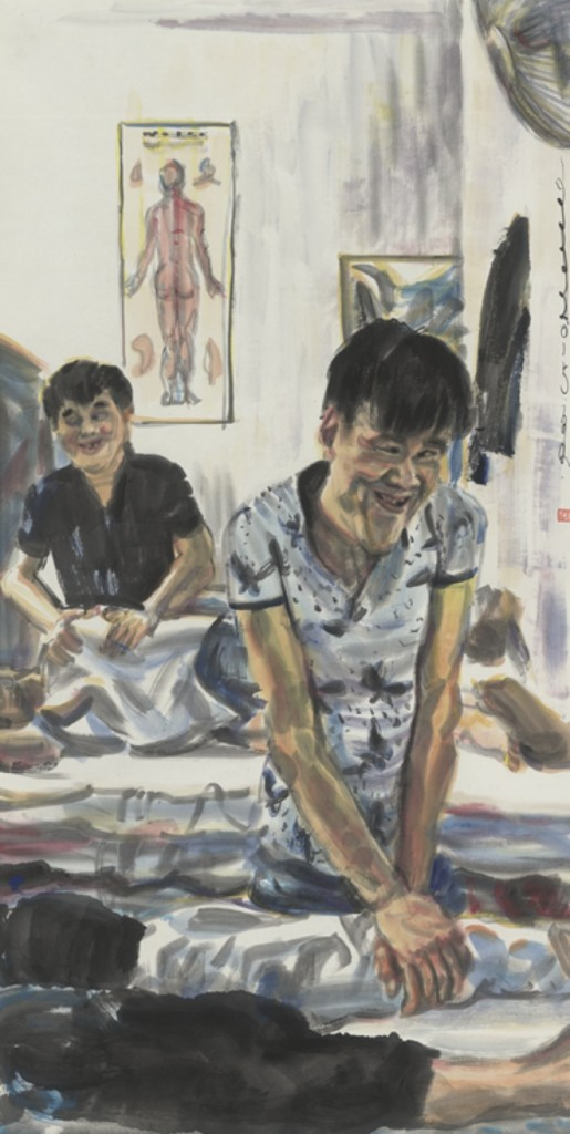 Chang Qing, Mr.Gu Jun, the Blind Masseur, 2015, Ink and color on paper, 69 x 137cm