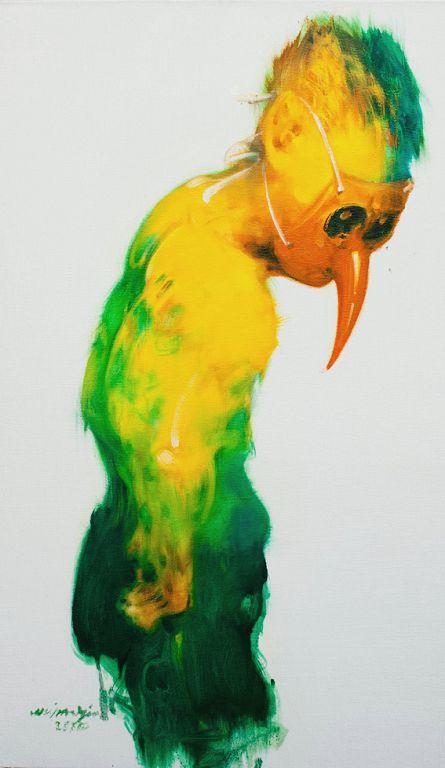 吴建军,《鸟面具》,100×60cm