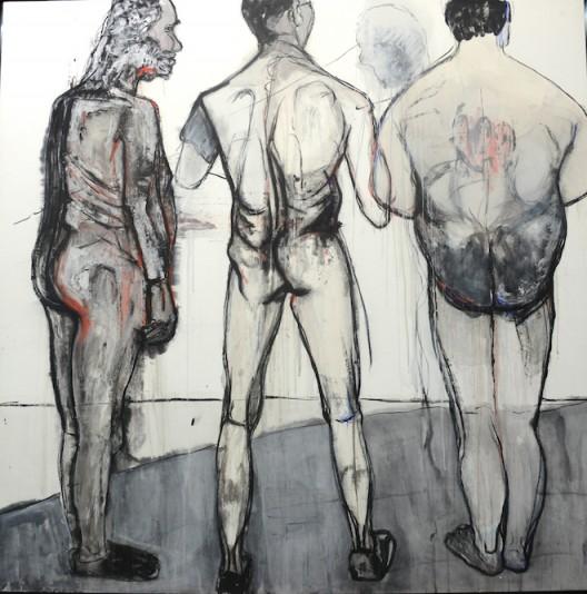 《三个男人的屁股》 200x200cm纸本综合绘画  2015  孙子垚