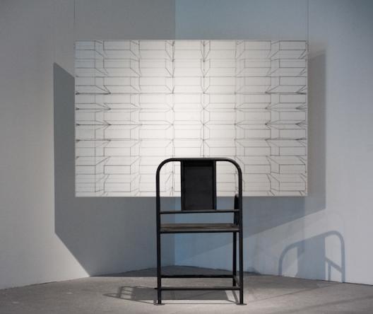 《凝视抑制》-180×120cm-70×70×100cm-水彩纸、中国墨-、钢材-、醇酸漆2015-吕志强