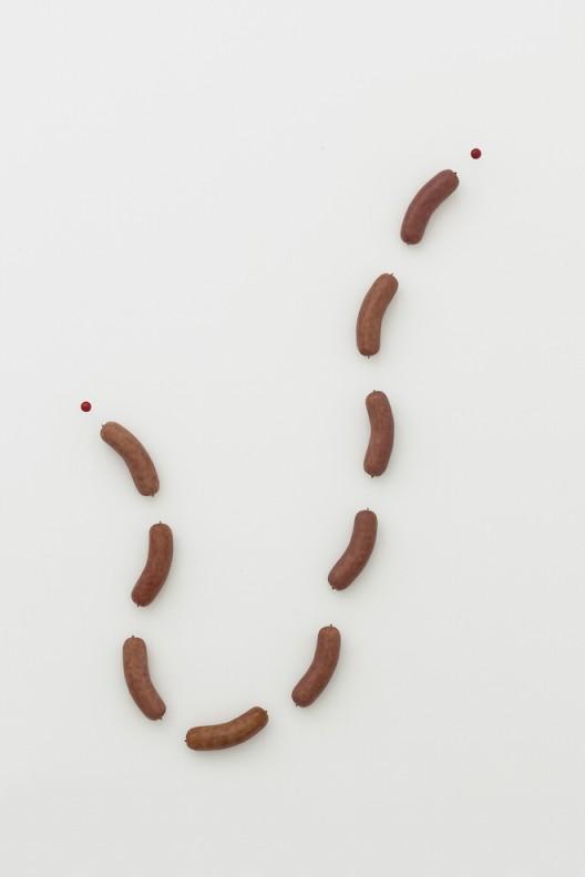 刘辛夷,《九段肠》,聚氨酯、酚醛树脂、铝棒、油画颜料,总体尺寸 290×172.5×16 cm,2016