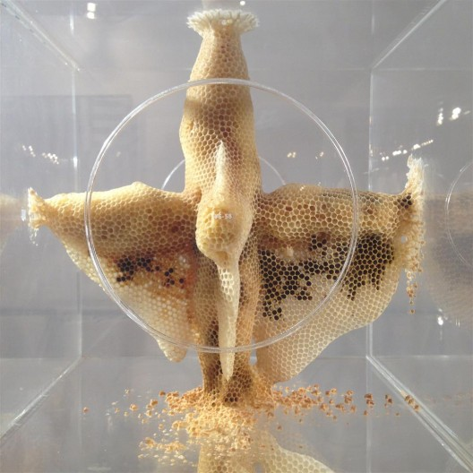 Ren Ri's beeswax sculpture as part of the Projects, brought by Pearl Lam Galleries