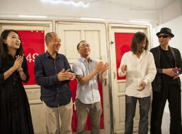 从左至右1X3画廊创始人索菁、艺术家张大力、1x3画廊合伙人艺术总监杜曦云、艺术家黄锐、艺术家高兟