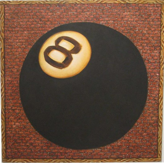 "黄马鼎,《把我的麻烦告知八号球》,布面丙烯,91 × 91 cm,1978(纽约KAWS的收藏;图片由布朗克斯 艺术博物馆提供)/ Martin Wong, ""Tell My Troubles to the Eight Ball"", acrylic on canvas, 91 × 91 cm, 1978 (Collection of KAWS, New York; courtesy the Bronx Museum of the Arts)"