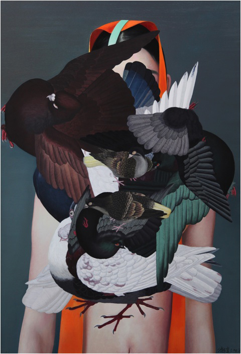 Falling Ancient Birds, 2016. Oil and acrylic on canvas. 190 x 130 cm