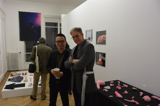 Gallerist Leo Xu with collector Serge Trioche at Asia Now