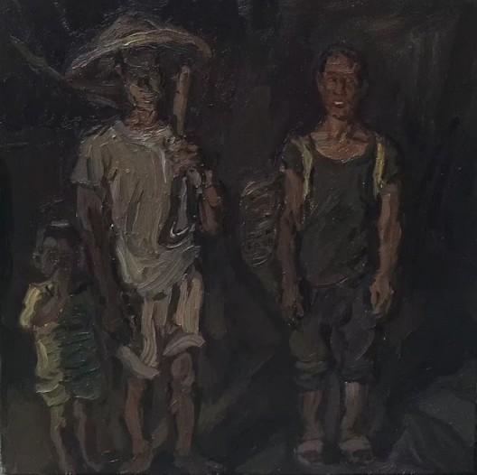 出工, 布面油画, 40-X-40cm,2016