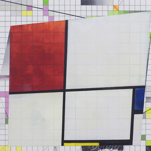 导览 / 蒙德里安 Guided Tour / Mondrian 2016 布面丙烯、马克笔、彩铅、蜡笔    acrylic, marker, colored pencil, oil crayon on canvas 140×140cm
