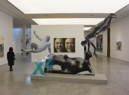 "(foreground) XU ZHEN - PRODUCED BY MADEIN COMPANY Xu Zhen - produced by MadeIn Company, "" Eternity, Reclining Woman: Elbow, Othryades the Dying Spartan, Adorant"", 2016, 342.4*504.6*100cm (135""*199""*39""), Installation, Inkjet print, high density chevron board, wood, metal, acrylic.  (background) Geng Jianyi ""The Second State"", 1987, 130*196cm (51""*77""), Painting, Oil on canvas (courtesy the artists and ShanghART, image Chris Moore)"