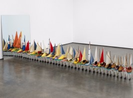 Francis Alÿs, Untitled (Study for Don't Cross the Bridge Before You Get to the River), 2006-2009. Installation composed of one painting, 36 Shoe-Boats, and one mirror. Approximate dimensions: 47 1/4 x 39 3/8 x 128 1/8 inches (120 x 100 x 325.4 cm)