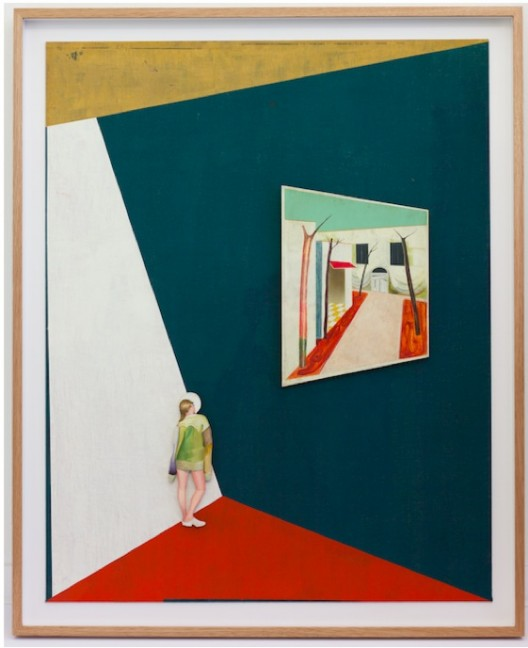 """Jens FÄNGE, """"Clogs"""", 2016, Oil, vinyl and fabric on panel 92 x 73 cm, Courtesy Galerie Perrotin"""