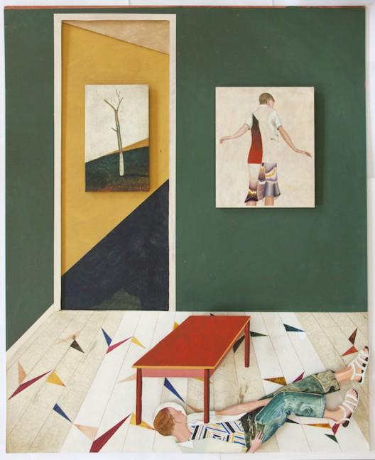 "Jens FÄNGE, ""Sister Feelings"", 2016, Oil, vinyl, cardboard and wood on panel 100 x 81 cm, Courtesy Galerie Perrotin"