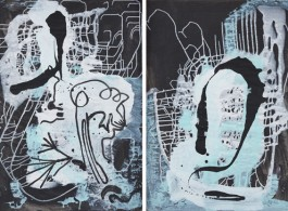 Sigmar Polke, Untitled, 1985. Mixed media on prepared paper. Two parts; each: 39 x 27 1/4 inches, (Two parts; each: 99 x 69 cm).