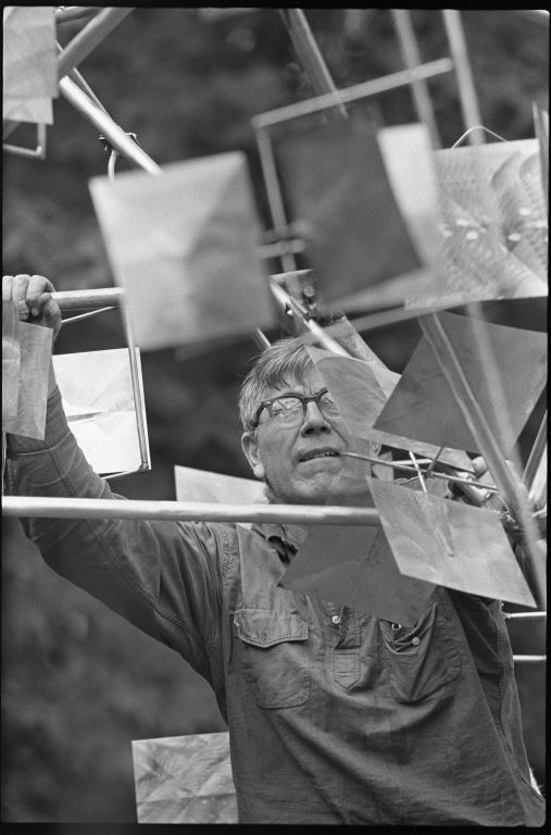 George Rickey working on Crucifera IV in his studio in East Chatham New York, c.1965,  photo by Carl Howard, copyright George Rickey Estate