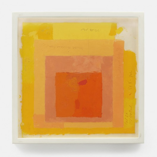 Color study for Homage to the Square, n.d., Oil and graphite on blotting paper, 13 x 13 x 1 1/4 inches (33 x 33 x 3.2 cm), © 2017 The Josef and Anni Albers Foundation/Artists Rights Society (ARS), New York. Courtesy David Zwirner, New York/London.