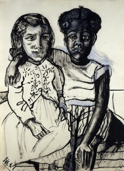 Two Girls, 1954, Ink and gouache on paper, 29 1/4 x 21 3/4 inches (74.3 x 55.2 cm),© The Estate of Alice Neel. Courtesy David Zwirner, New York/London