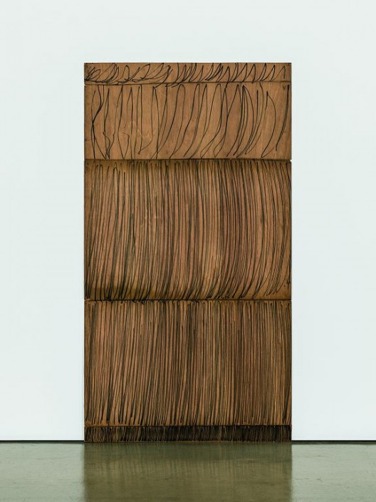 "Gallery Hyundai, Lee Kun-Yong, ""The Method of Drawing 76-1-78"", oil based marker pen on wood, 168.5x91.2cm, 1978 (courtesy the artist and Gallery Hyundai, Seoul)"