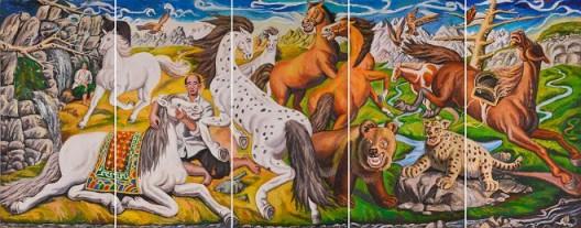 叶群,布面油画,300×750cm, 2016