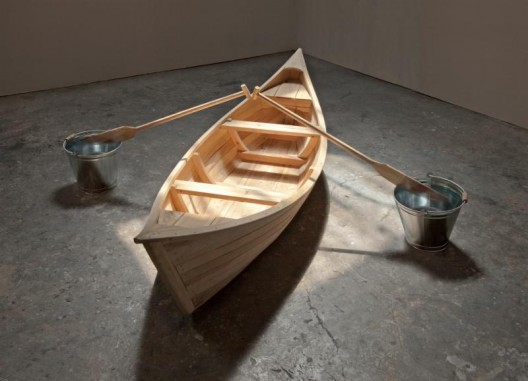 Zhou Wendou, Two Buckets Plan, 2017. Wood, water, galvanized metal buckets, 300 x 300 x 70 cm