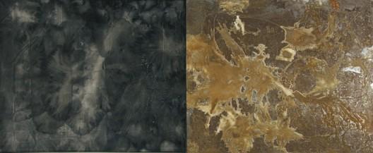 插图19 《迹斑》(二〇〇九年作,宣纸、墨、铁片、盐,纵一五二厘米,横三三〇厘米)