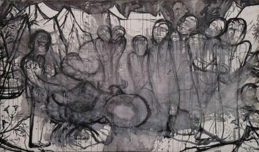 """《困兽之夜》,布上水墨,2016 """"Night of Captive Beast"""", ink on canvas, 235x400cm, 2016"""