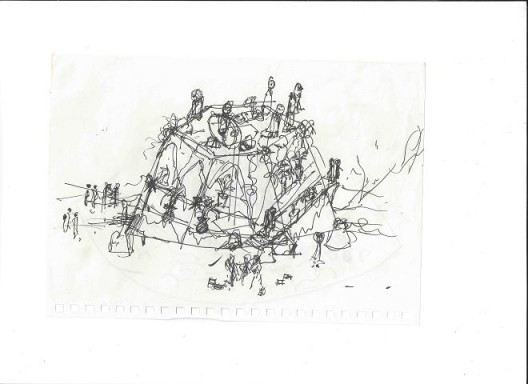 """《愚公移山-手稿》,纸上水笔,14.8cm x 21cm,2016 """"Moving Mountains - manuscript"""",pen on paper,14.8cm x 21cm,2016"""