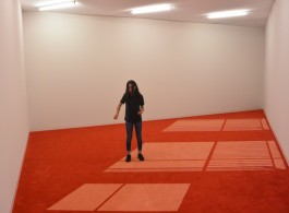 "Tino Sehgal ""Ann Lee"", based on  the manga character bought by Philippe Parreno and Pierre Huyghe, performed on/in Pierre Huyghe's ""6PM"" 2000, carpet (Esther Schipper, Berlin)"