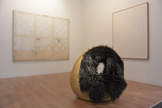 Haegue Yang (front) and Chung Sang-hwa at Kukje / Tina Kim Gallery