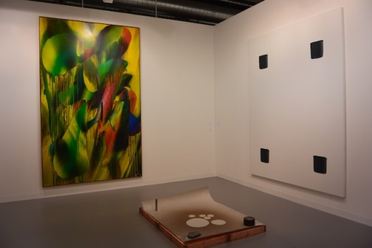 Katharina Grosse (left), Lee Ufan (right) and Joëlle Turerlinckx at Galerie Nächst St.Stephen Rosemarie Schwarzwälder