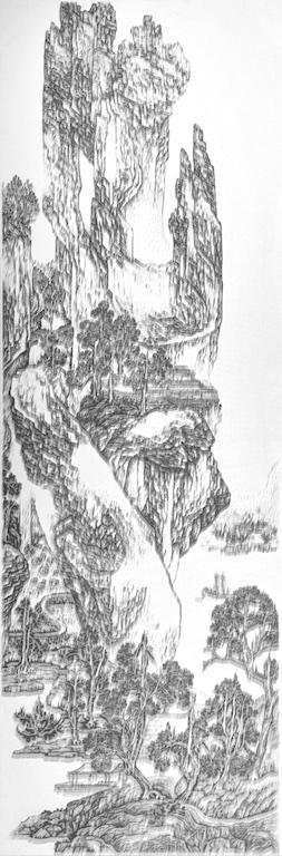 陳浚豪 Chen Chun-Hao,臨摹明吳彬《山水圖》Imitating Pine Lodge Amid Tail Mountains by Wu Bin, Ming Dynasty,2015. 不鏽鋼蚊釘、畫布、木板 Mosquito nail, canvas, and wood,340 x 110 cm (image courtesy the artist and Tina Keng Gallery)