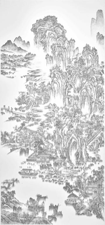 陳浚豪 Chen Chun-Hao,臨摹宋佚名山水圖之一 Imitating the Landscape Painting by Anonymous Artist from Song Dynasty 1,2016. 不鏽鋼蚊釘、畫布、木板 Mosquito nail, canvas, and wood,340 x 160 cm (image courtesy the artist and Tina Keng Gallery)
